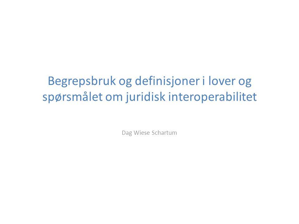Begrepsbruk og definisjoner i lover og spørsmålet om juridisk interoperabilitet Dag Wiese Schartum