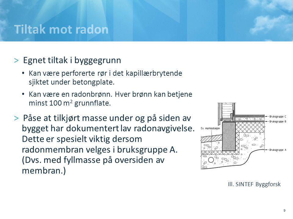 Tiltak mot radon >Egnet tiltak i byggegrunn • Kan være perforerte rør i det kapillærbrytende sjiktet under betongplate.
