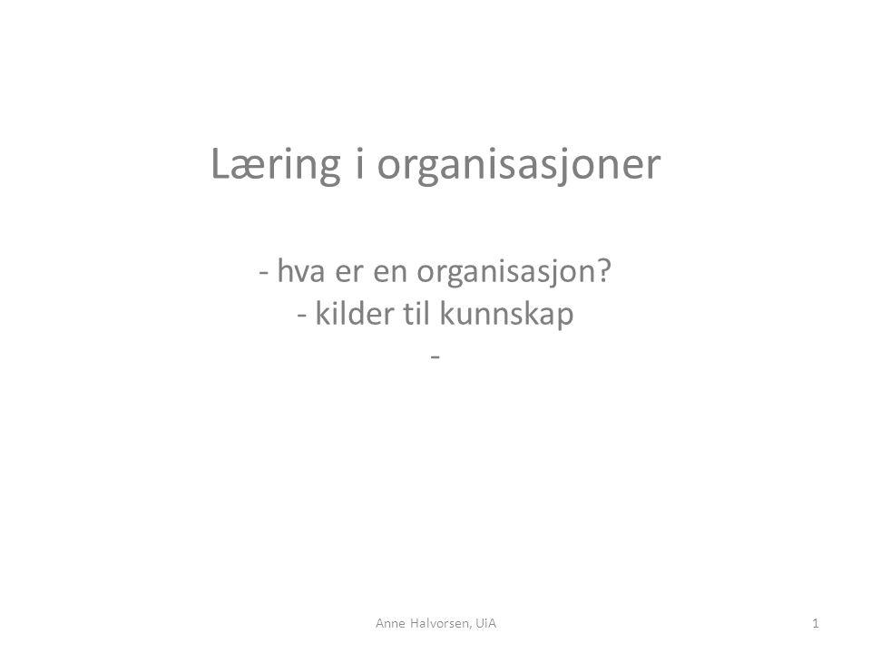 Læring i organisasjoner - hva er en organisasjon? - kilder til kunnskap - 1Anne Halvorsen, UiA