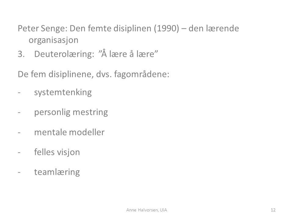"""Peter Senge: Den femte disiplinen (1990) – den lærende organisasjon 3.Deuterolæring: """"Å lære å lære"""" De fem disiplinene, dvs. fagområdene: -systemtenk"""