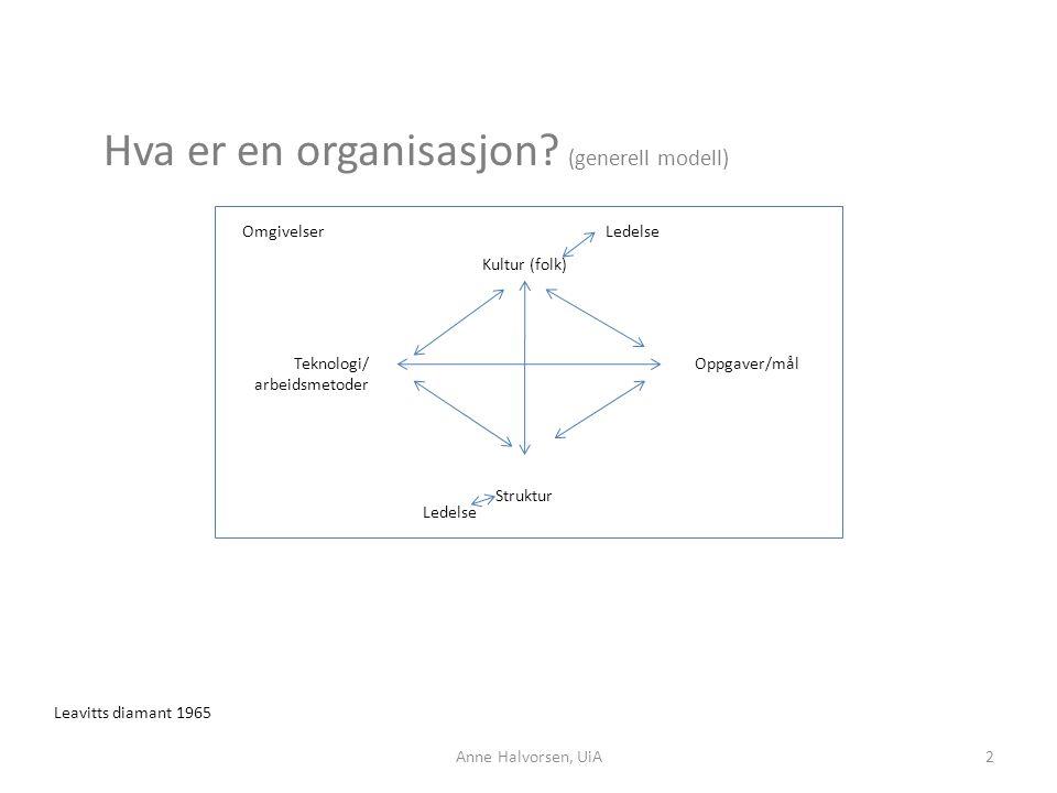 Hva er en organisasjon? (generell modell) Omgivelser Kultur (folk) Teknologi/ arbeidsmetoder Struktur Oppgaver/mål Leavitts diamant 1965 Ledelse 2Anne