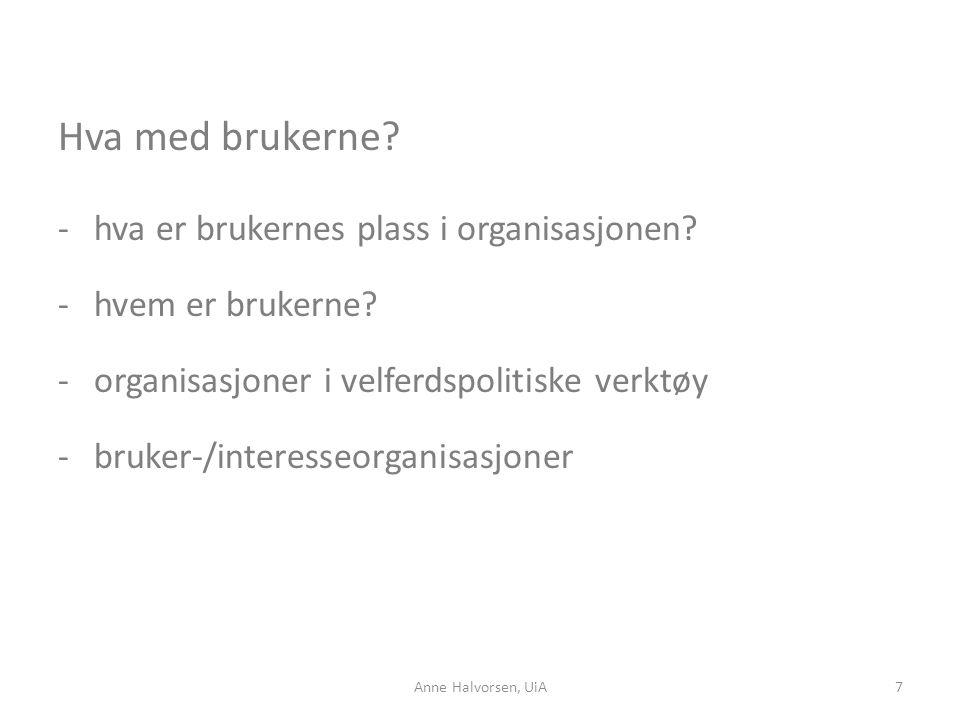 Hva med brukerne? -hva er brukernes plass i organisasjonen? -hvem er brukerne? -organisasjoner i velferdspolitiske verktøy -bruker-/interesseorganisas