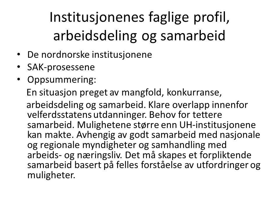 Institusjonenes faglige profil, arbeidsdeling og samarbeid • De nordnorske institusjonene • SAK-prosessene • Oppsummering: En situasjon preget av mang