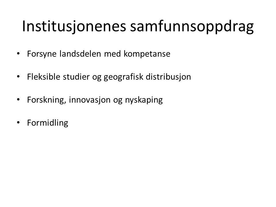 Institusjonenes samfunnsoppdrag • Forsyne landsdelen med kompetanse • Fleksible studier og geografisk distribusjon • Forskning, innovasjon og nyskapin