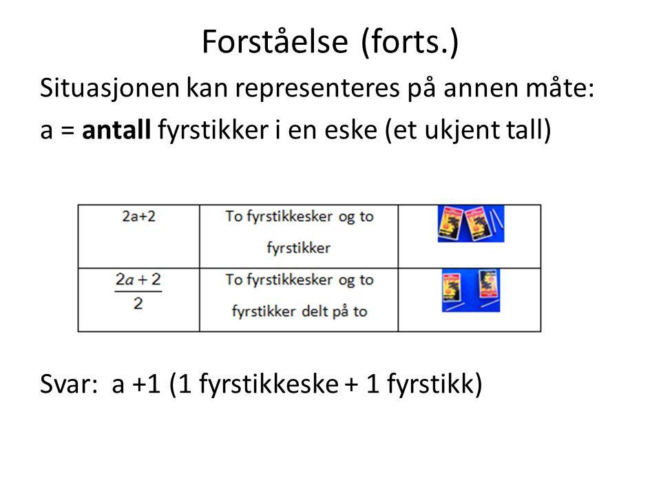 Forståelse (forts.) Situasjonen kan representeres på annen måte: a = antall fyrstikker i en eske (et ukjent tall) Svar: a +1 (1 fyrstikkeske + 1 fyrst