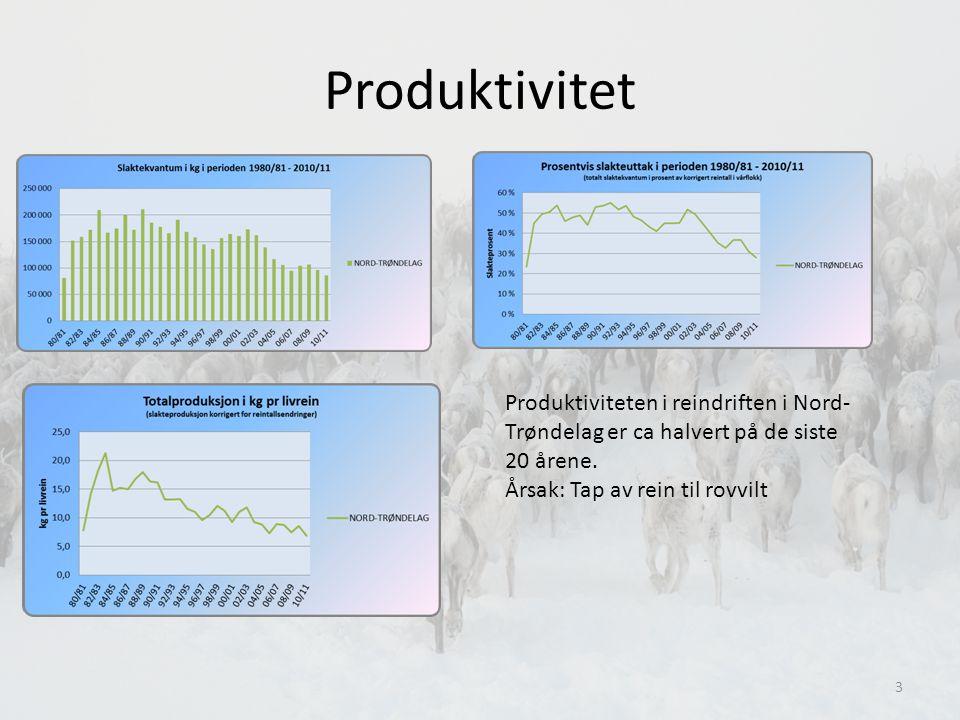 Produktivitet Produktiviteten i reindriften i Nord- Trøndelag er ca halvert på de siste 20 årene.