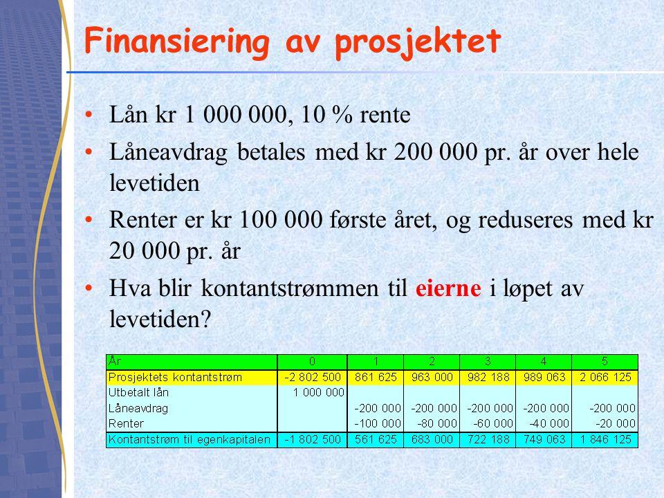 Finansiering av prosjektet •Lån kr 1 000 000, 10 % rente •Låneavdrag betales med kr 200 000 pr. år over hele levetiden •Renter er kr 100 000 første år