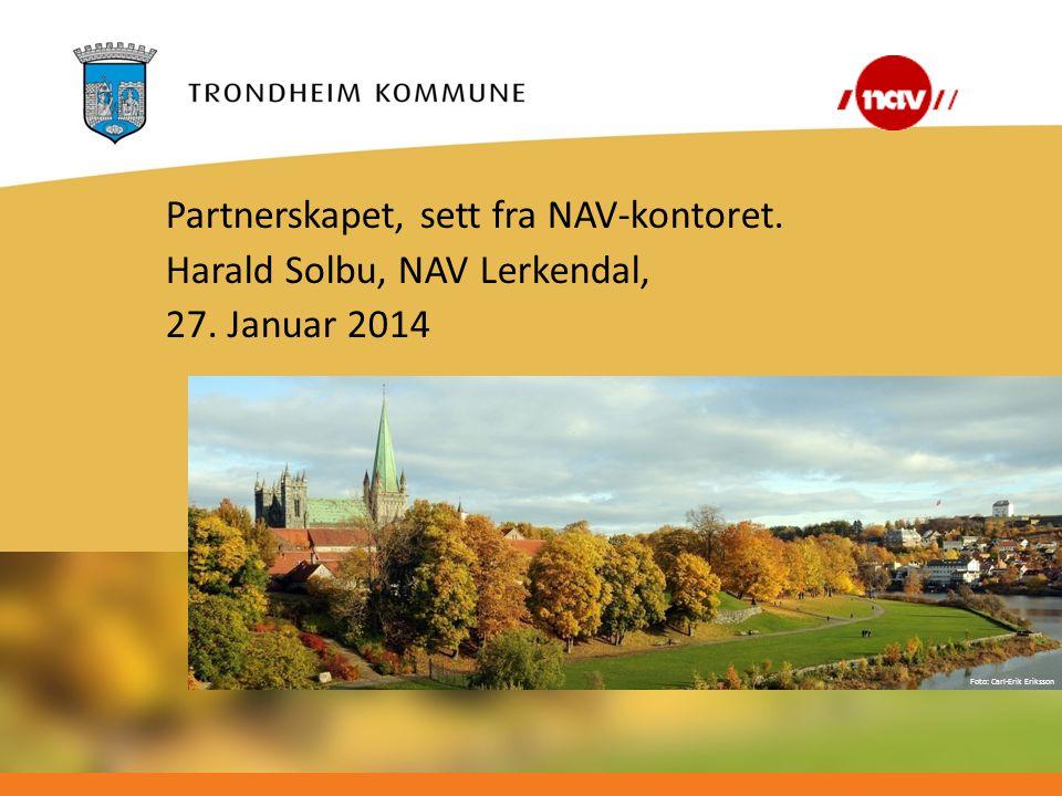 Foto: Carl-Erik Eriksson Partnerskapet, sett fra NAV-kontoret. Harald Solbu, NAV Lerkendal, 27. Januar 2014