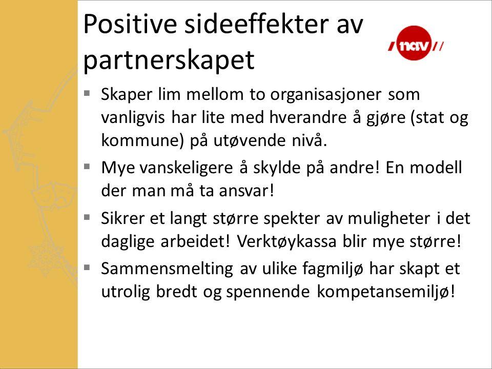 Positive sideeffekter av partnerskapet  Skaper lim mellom to organisasjoner som vanligvis har lite med hverandre å gjøre (stat og kommune) på utøvend