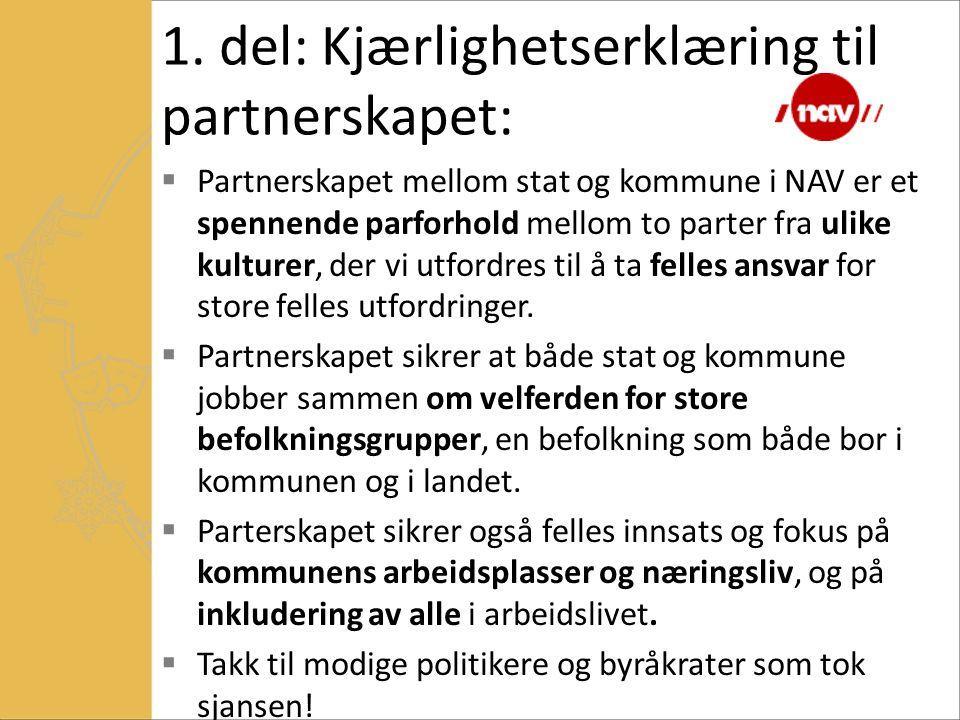 1. del: Kjærlighetserklæring til partnerskapet:  Partnerskapet mellom stat og kommune i NAV er et spennende parforhold mellom to parter fra ulike kul