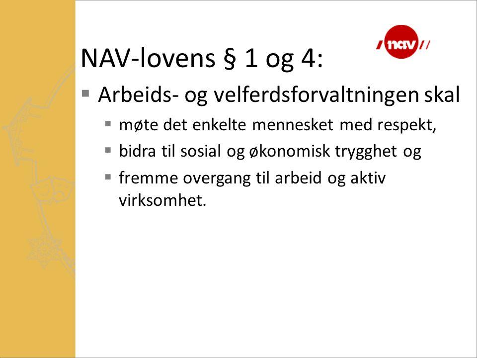 NAV-lovens § 1 og 4:  Arbeids- og velferdsforvaltningen skal  møte det enkelte mennesket med respekt,  bidra til sosial og økonomisk trygghet og 
