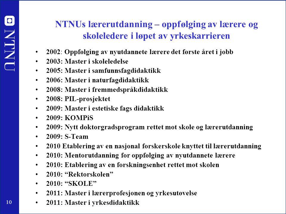10 NTNUs lærerutdanning – oppfølging av lærere og skoleledere i løpet av yrkeskarrieren •2002: Oppfølging av nyutdannete lærere det første året i jobb