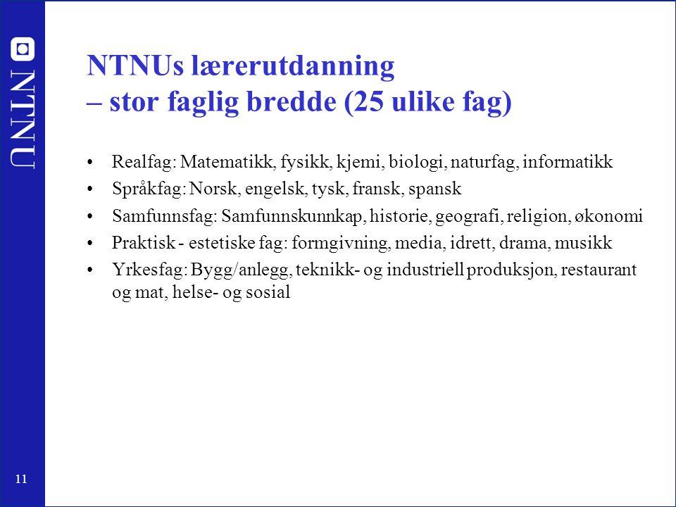 11 NTNUs lærerutdanning – stor faglig bredde (25 ulike fag) •Realfag: Matematikk, fysikk, kjemi, biologi, naturfag, informatikk •Språkfag: Norsk, enge