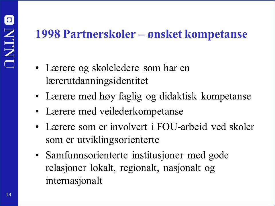 13 1998 Partnerskoler – ønsket kompetanse •Lærere og skoleledere som har en lærerutdanningsidentitet •Lærere med høy faglig og didaktisk kompetanse •L