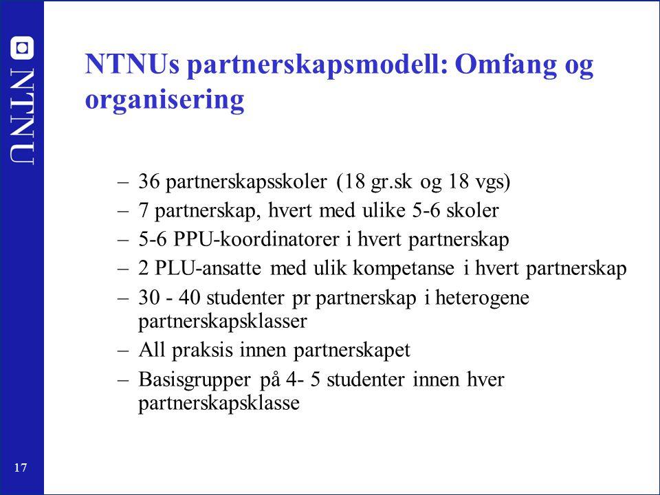 17 NTNUs partnerskapsmodell: Omfang og organisering –36 partnerskapsskoler (18 gr.sk og 18 vgs) –7 partnerskap, hvert med ulike 5-6 skoler –5-6 PPU-ko