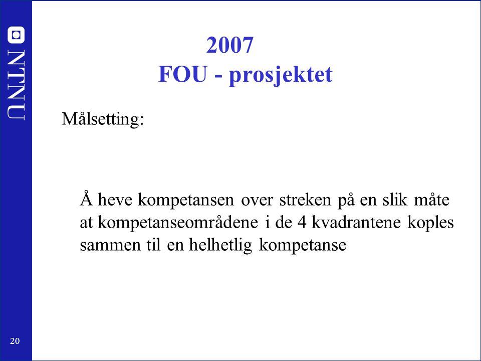 20 2007 FOU - prosjektet Målsetting: Å heve kompetansen over streken på en slik måte at kompetanseområdene i de 4 kvadrantene koples sammen til en hel