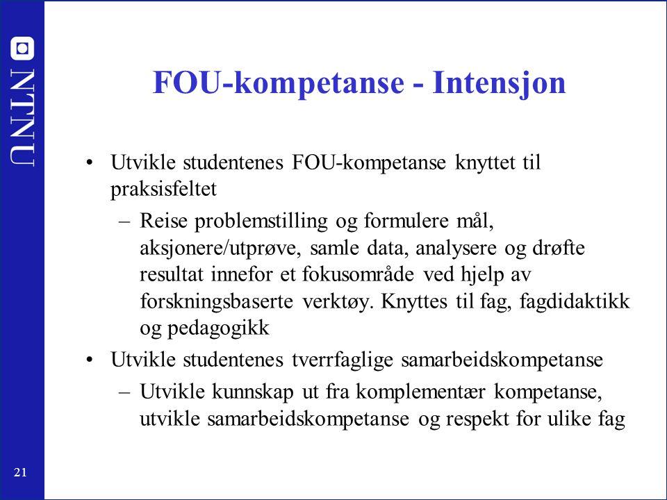 21 FOU-kompetanse - Intensjon •Utvikle studentenes FOU-kompetanse knyttet til praksisfeltet –Reise problemstilling og formulere mål, aksjonere/utprøve