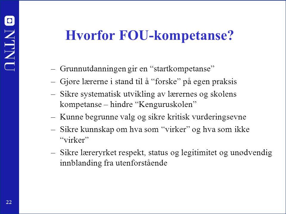 """22 Hvorfor FOU-kompetanse? –Grunnutdanningen gir en """"startkompetanse"""" –Gjøre lærerne i stand til å """"forske"""" på egen praksis –Sikre systematisk utvikli"""