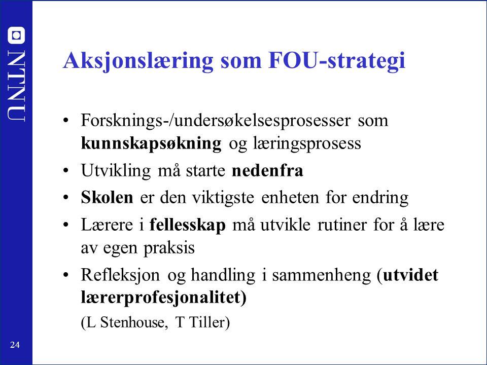 24 Aksjonslæring som FOU-strategi •Forsknings-/undersøkelsesprosesser som kunnskapsøkning og læringsprosess •Utvikling må starte nedenfra •Skolen er d