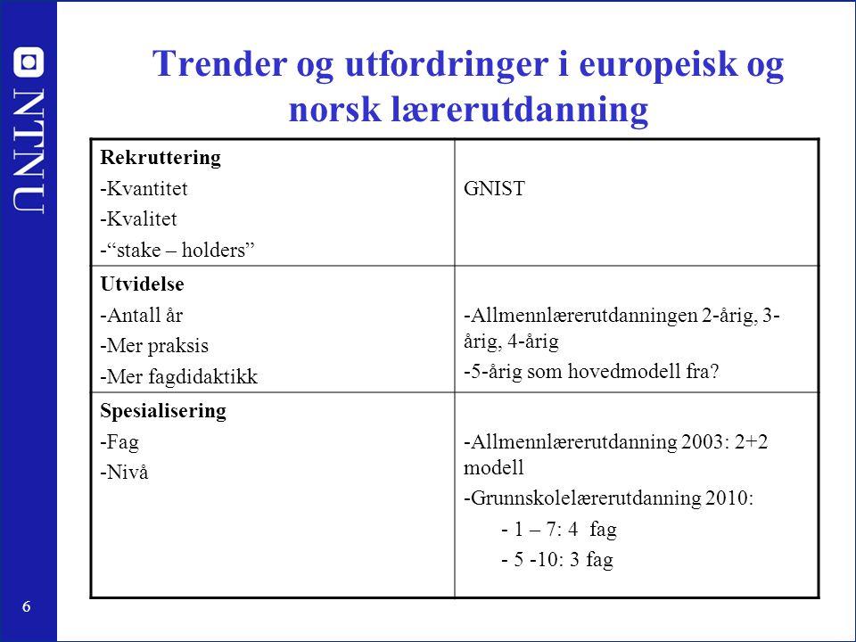 """6 Trender og utfordringer i europeisk og norsk lærerutdanning Rekruttering -Kvantitet -Kvalitet -""""stake – holders"""" GNIST Utvidelse -Antall år -Mer pra"""