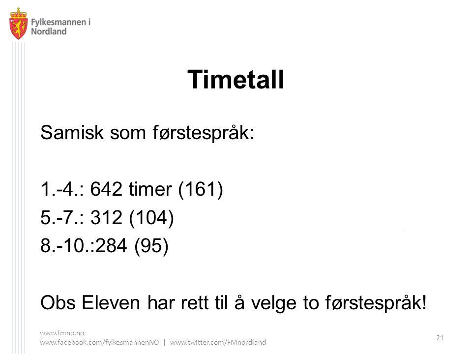 Timetall Samisk som førstespråk: 1.-4.: 642 timer (161) 5.-7.: 312 (104) 8.-10.:284 (95) Obs Eleven har rett til å velge to førstespråk.