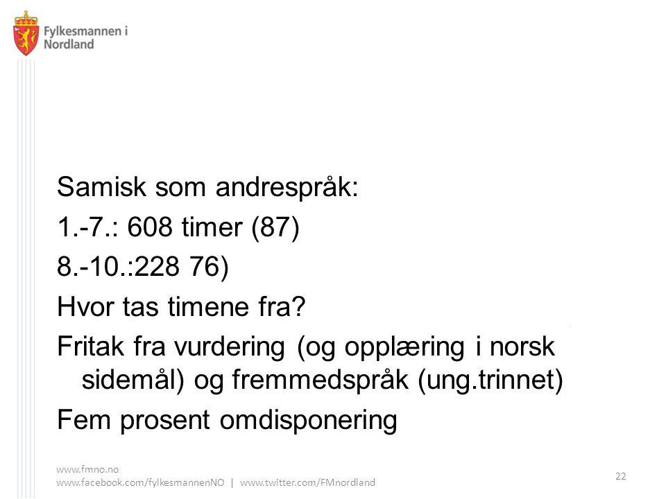 Samisk som andrespråk: 1.-7.: 608 timer (87) 8.-10.:228 76) Hvor tas timene fra.