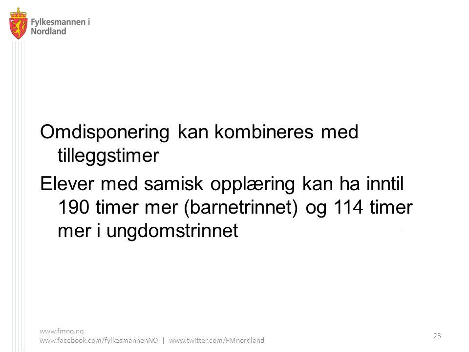 Omdisponering kan kombineres med tilleggstimer Elever med samisk opplæring kan ha inntil 190 timer mer (barnetrinnet) og 114 timer mer i ungdomstrinnet www.fmno.no www.facebook.com/fylkesmannenNO | www.twitter.com/FMnordland 23