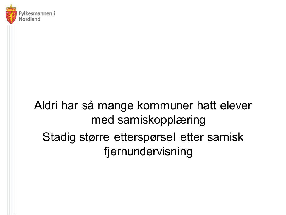 Kartlegging av samisk fjernundervisning utført av Nordlandsforskning Strategisk plan for samisk fjernundervisning www.fmno.no www.facebook.com/fylkesmannenNO   www.twitter.com/FMnordland 19