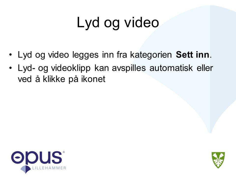 Lyd og video •Lyd og video legges inn fra kategorien Sett inn.