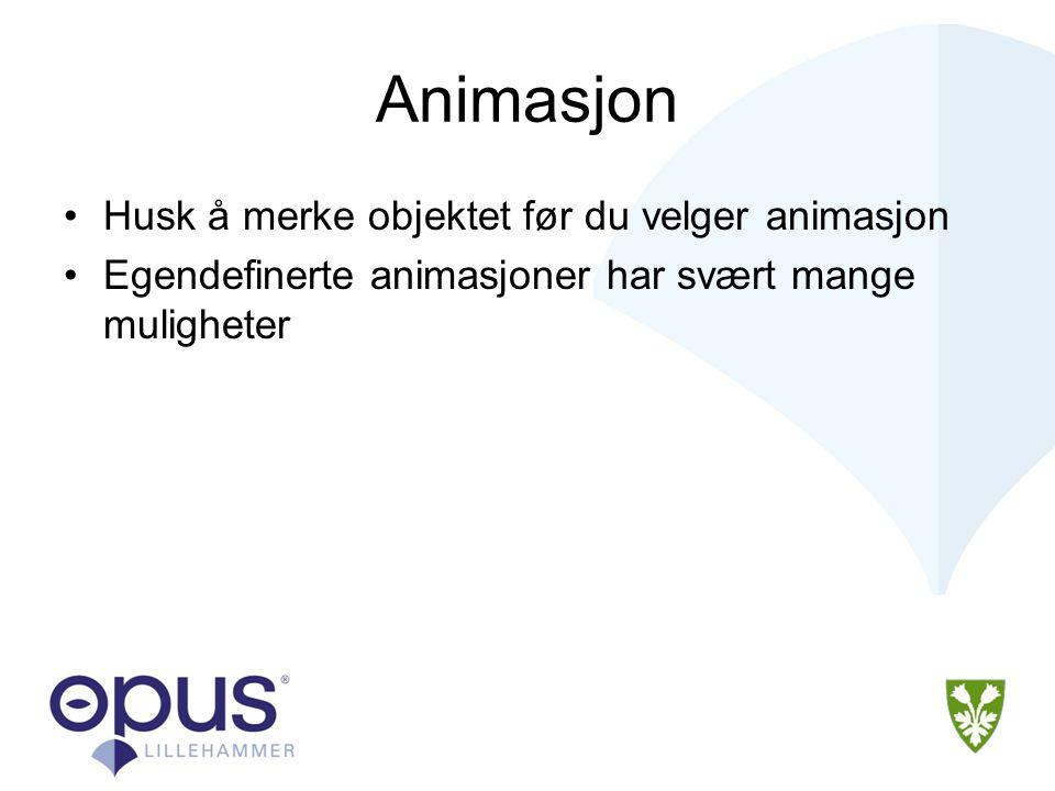 Animasjon •Husk å merke objektet før du velger animasjon •Egendefinerte animasjoner har svært mange muligheter