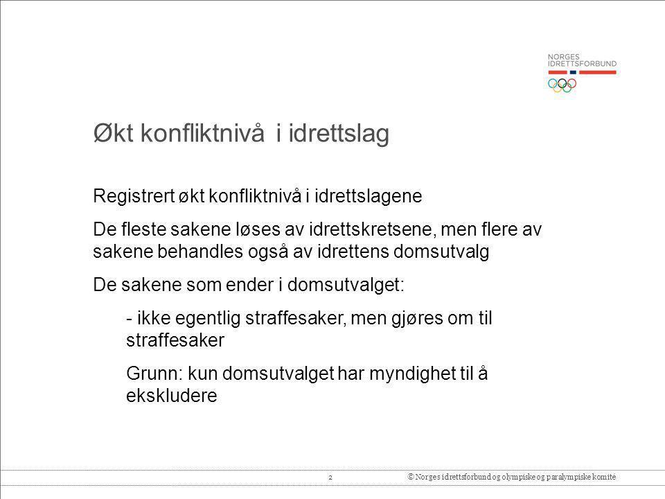 2© Norges idrettsforbund og olympiske og paralympiske komité Registrert økt konfliktnivå i idrettslagene De fleste sakene løses av idrettskretsene, me