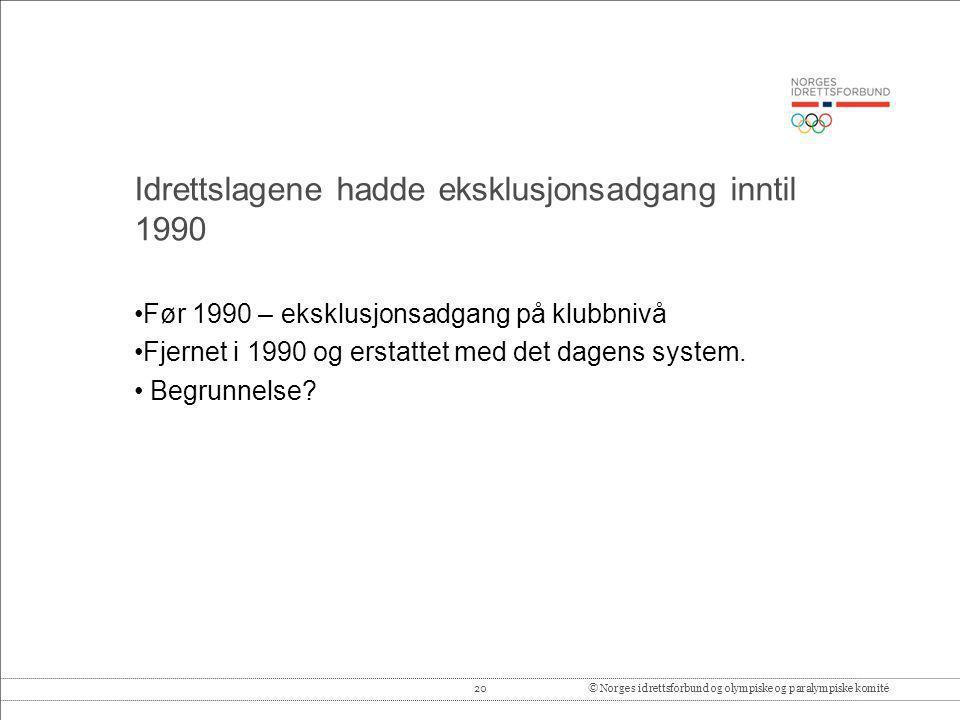 20© Norges idrettsforbund og olympiske og paralympiske komité Idrettslagene hadde eksklusjonsadgang inntil 1990 •Før 1990 – eksklusjonsadgang på klubb
