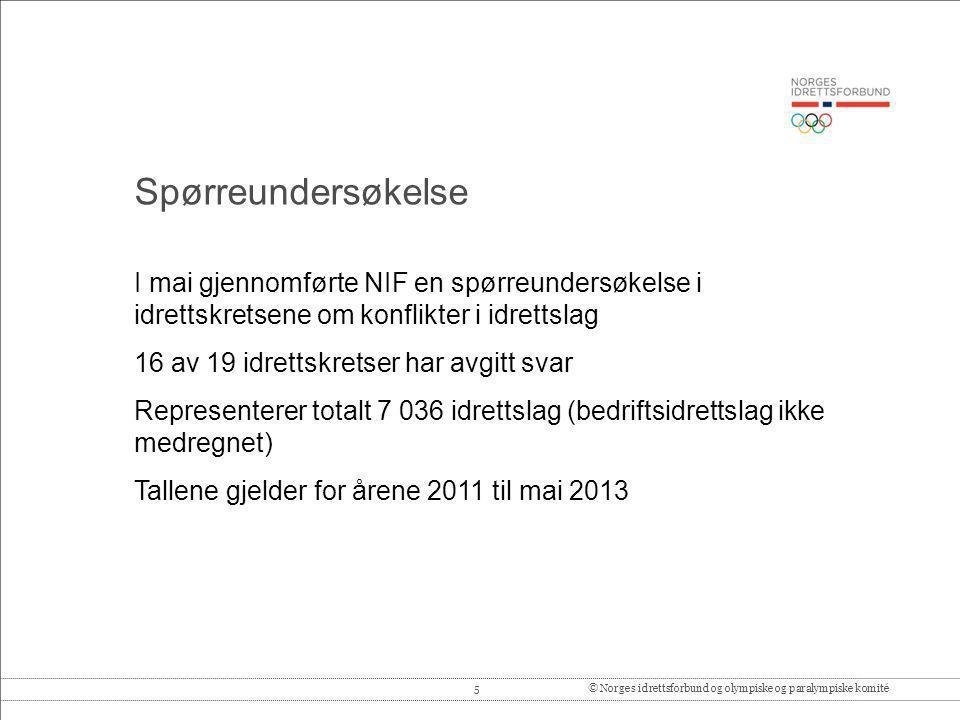 5© Norges idrettsforbund og olympiske og paralympiske komité I mai gjennomførte NIF en spørreundersøkelse i idrettskretsene om konflikter i idrettslag