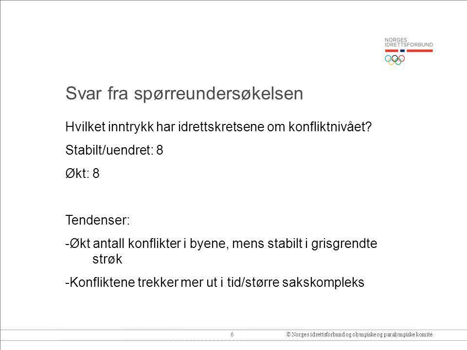 6© Norges idrettsforbund og olympiske og paralympiske komité Hvilket inntrykk har idrettskretsene om konfliktnivået? Stabilt/uendret: 8 Økt: 8 Tendens