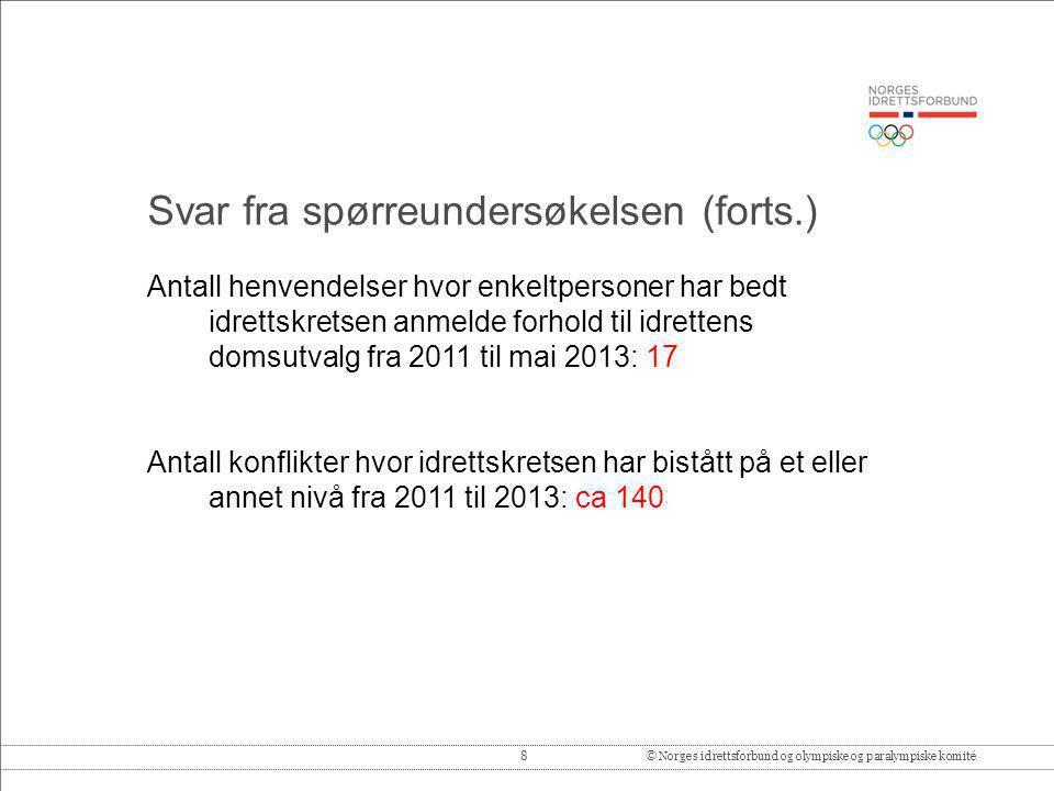 8© Norges idrettsforbund og olympiske og paralympiske komité Antall henvendelser hvor enkeltpersoner har bedt idrettskretsen anmelde forhold til idret