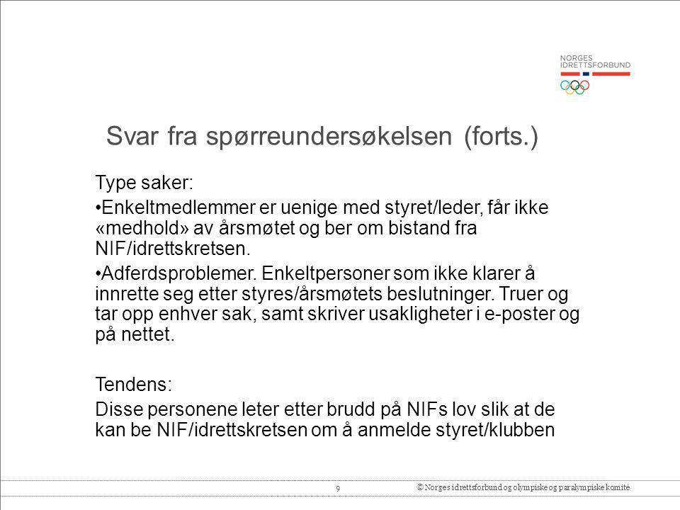 9© Norges idrettsforbund og olympiske og paralympiske komité Type saker: •Enkeltmedlemmer er uenige med styret/leder, får ikke «medhold» av årsmøtet o
