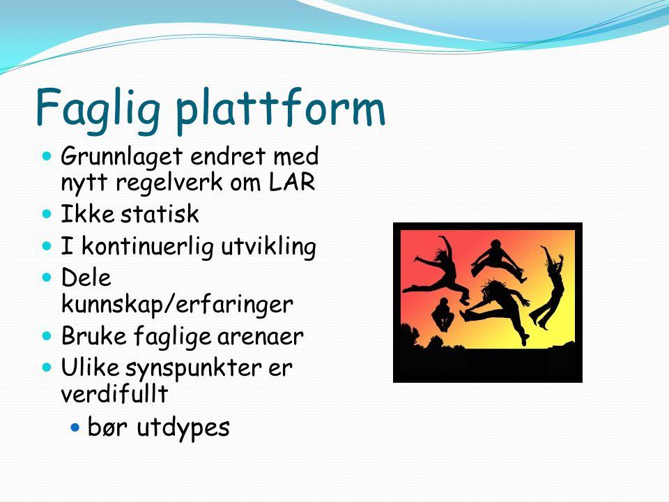 Faglig plattform  Grunnlaget endret med nytt regelverk om LAR  Ikke statisk  I kontinuerlig utvikling  Dele kunnskap/erfaringer  Bruke faglige ar