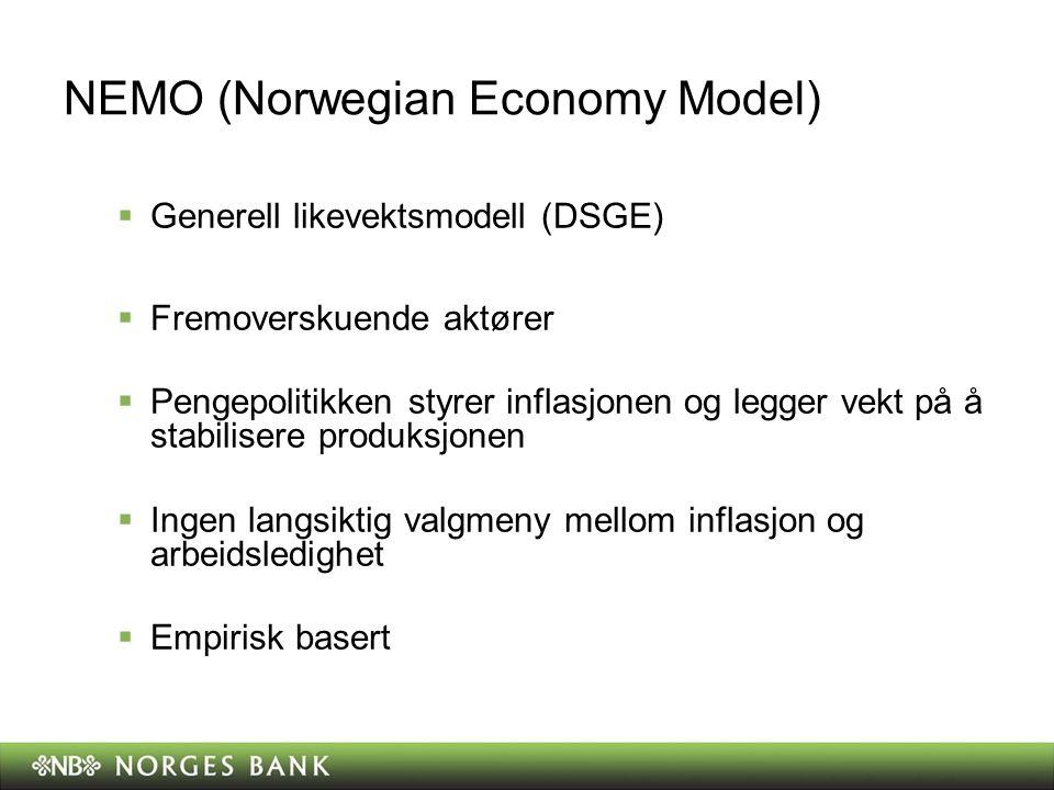 NEMO (Norwegian Economy Model)  Generell likevektsmodell (DSGE)  Fremoverskuende aktører  Pengepolitikken styrer inflasjonen og legger vekt på å st