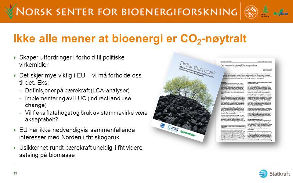 Ikke alle mener at bioenergi er CO 2 -nøytralt  Skaper utfordringer i forhold til politiske virkemidler  Det skjer mye viktig i EU – vi må forholde