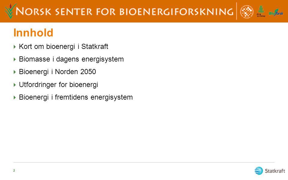 Innhold  Kort om bioenergi i Statkraft  Biomasse i dagens energisystem  Bioenergi i Norden 2050  Utfordringer for bioenergi  Bioenergi i fremtide
