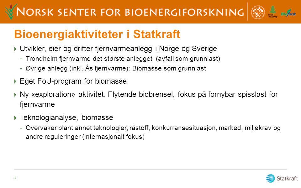 Biomasse utgjør 7% av total energibruk i Norge  Biomasse benyttes til varme -Husholdninger: Bruk av ved -Treforedlings-industrien: Treavfall som brensel -Fjernvarme *) : Flis, pellets, bioolje som brensel  El-produksjon: lite biomasse  Transport: Foreløpig lite bio 4 *) Biomasse utgjorde i 2011 ca 21% av samlet varmeproduksjon i fjernvarme