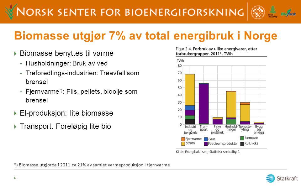 Biomasse utgjør 7% av total energibruk i Norge  Biomasse benyttes til varme -Husholdninger: Bruk av ved -Treforedlings-industrien: Treavfall som bren