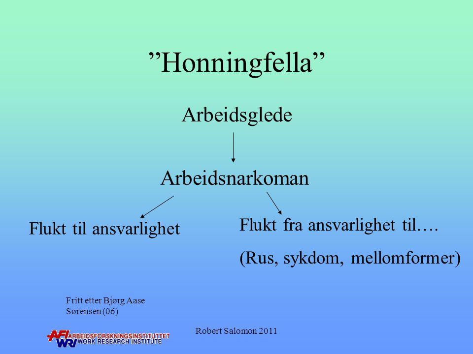 """""""Honningfella"""" Arbeidsnarkoman Flukt til ansvarlighet Flukt fra ansvarlighet til…. (Rus, sykdom, mellomformer) Arbeidsglede Fritt etter Bjørg Aase Sør"""