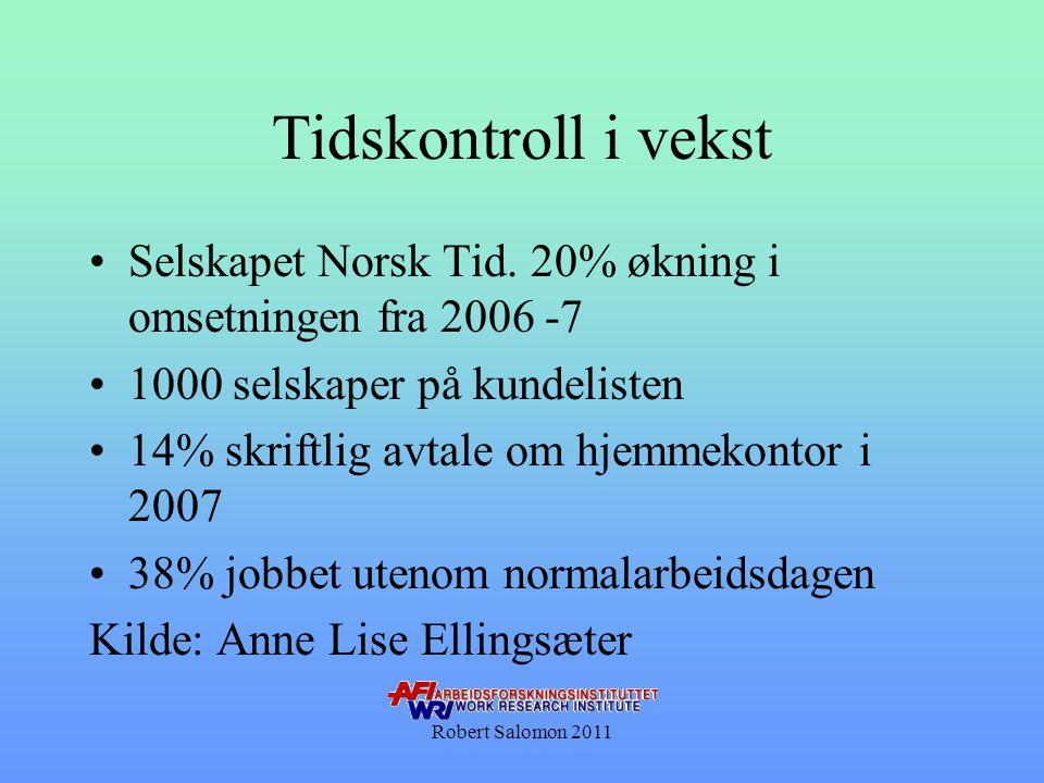 Tidskontroll i vekst •Selskapet Norsk Tid. 20% økning i omsetningen fra 2006 -7 •1000 selskaper på kundelisten •14% skriftlig avtale om hjemmekontor i