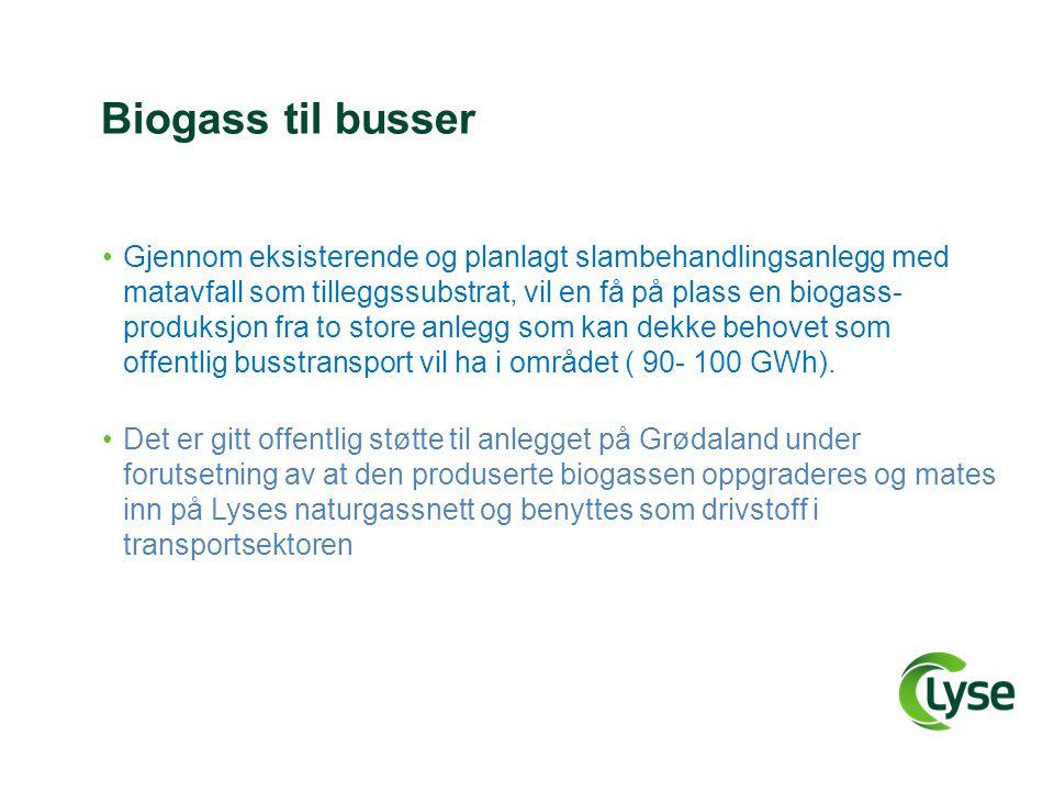 Biogass til busser •Gjennom eksisterende og planlagt slambehandlingsanlegg med matavfall som tilleggssubstrat, vil en få på plass en biogass- produksj