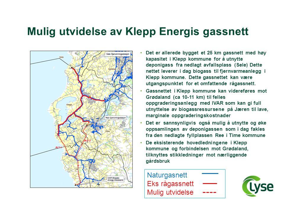 Mulig utvidelse av Klepp Energis gassnett •Det er allerede bygget et 25 km gassnett med høy kapasitet i Klepp kommune for å utnytte deponigass fra ned