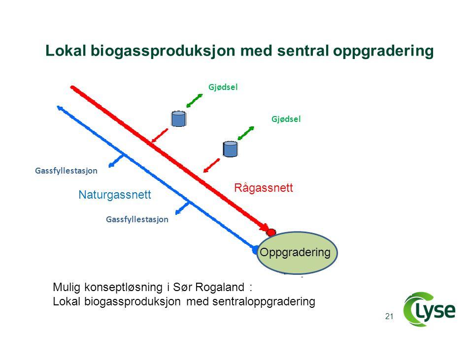 Lokal biogassproduksjon med sentral oppgradering 21 Gjødsel Gassfyllestasjon Oppgradering Rågassnett Naturgassnett Mulig konseptløsning i Sør Rogaland