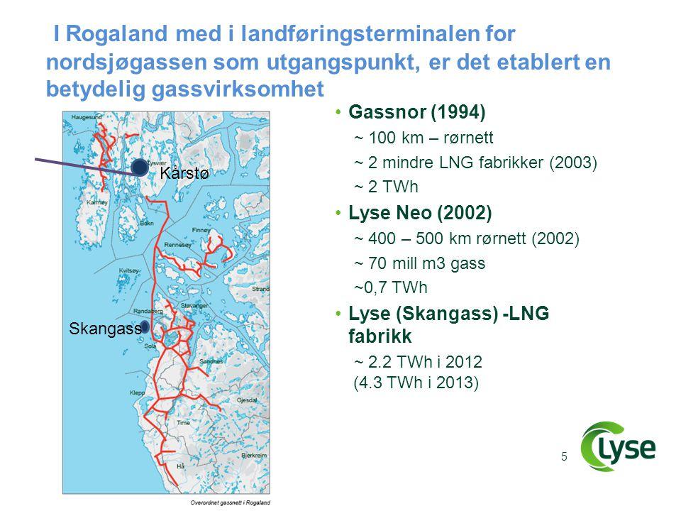 I Rogaland med i landføringsterminalen for nordsjøgassen som utgangspunkt, er det etablert en betydelig gassvirksomhet •Gassnor (1994) ~ 100 km – rørn