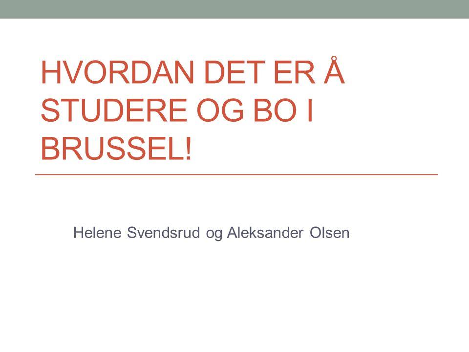 HVORDAN DET ER Å STUDERE OG BO I BRUSSEL! Helene Svendsrud og Aleksander Olsen