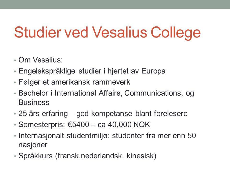 Studier ved Vesalius College • Om Vesalius: • Engelskspråklige studier i hjertet av Europa • Følger et amerikansk rammeverk • Bachelor i International